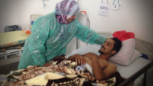 Update From Libya: Najib, 22, was brought to our hospital in Gernada, Libya, a week ago after a bullet wounded his leg.
