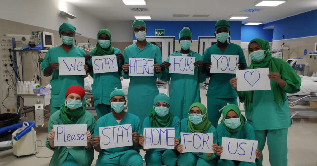 "International Workers' Day: ""We Stay Here For You. Please Stay Home For Us""."